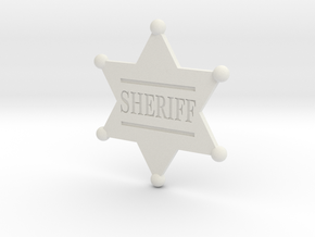 Sheriff badge in White Natural Versatile Plastic
