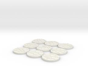 32mm Cobblestone Bases  in White Natural Versatile Plastic