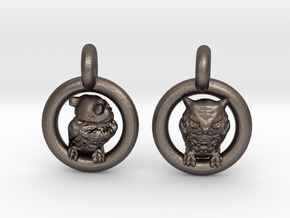 Owl Earrings in Polished Bronzed Silver Steel