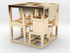 Perfect Cubed Cube Frame 43-19-1 in 14K Yellow Gold