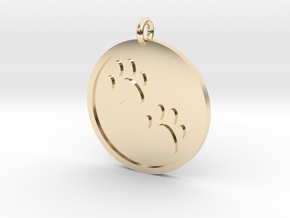 Paw Prints Pendant in 14k Gold Plated Brass