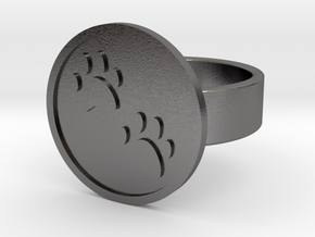 Paw Prints Ring in Polished Nickel Steel: 10 / 61.5