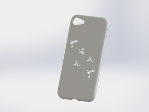 Iphone 7 Case, Geometric Brids in White Strong & Flexible Polished