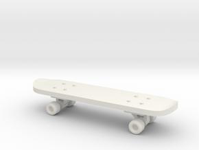 1/24 Scale Skateboard in White Natural Versatile Plastic