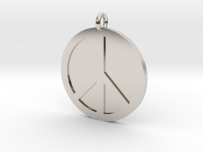 Peace Pendant in Rhodium Plated Brass