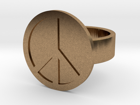 Peace Ring in Natural Brass: 8 / 56.75