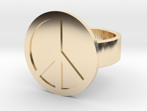 Peace Ring in 14k Gold Plated Brass: 8 / 56.75