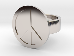 Peace Ring in Rhodium Plated Brass: 8 / 56.75