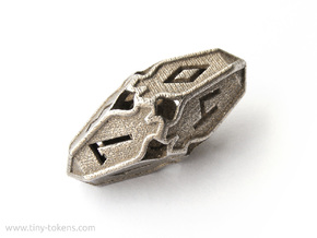 Amonkhet D10 gaming die - Small, hollow in Polished Bronzed Silver Steel