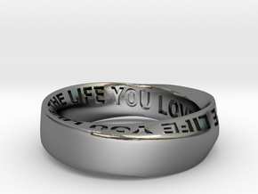 Live The Life You Love - Mobius Ring 6mm band in Polished Silver