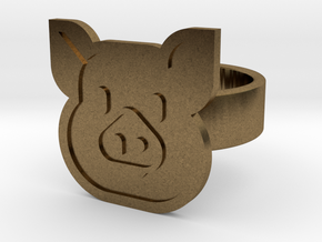 Pig Ring in Natural Bronze: 8 / 56.75