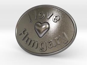I Love Hungary Belt Buckle in Polished Nickel Steel