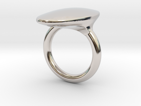 OvalRing - SIZE 10 US in Rhodium Plated Brass: 10 / 61.5