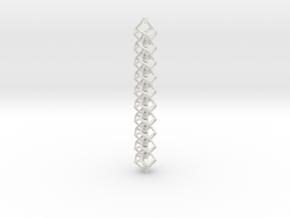 Anti-Diamond Tube Chain, 10 Links in White Natural Versatile Plastic