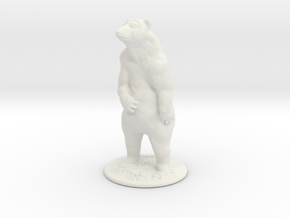 HO Scale Grizzly Bear in White Natural Versatile Plastic