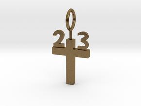 Custom 23 Cross Pendant in Natural Bronze