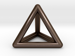 Tetrahedron Platonic Solid Triangular Pyramid Pend in Polished Bronze Steel