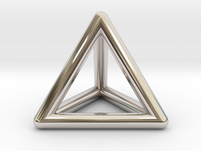 Tetrahedron Platonic Solid Triangular Pyramid Pend in Platinum