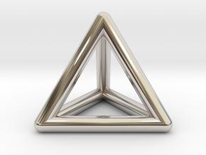 Tetrahedron Platonic Solid Triangular Pyramid Pend in Rhodium Plated Brass