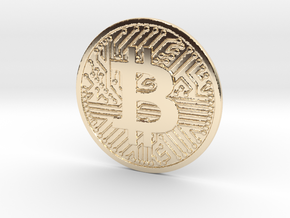 Bitcoin (2.25 Inches) in 14k Gold Plated Brass