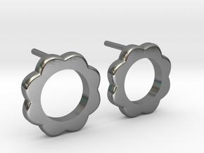 Flower Power - Stud Earrings in Polished Silver