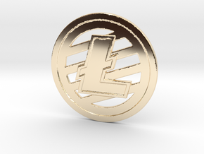 Litecoin (2.25 Inches) in 14k Gold Plated Brass