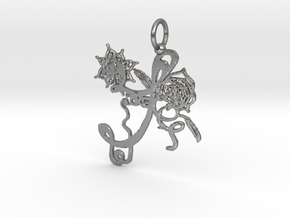 Flower Pendant in Raw Silver