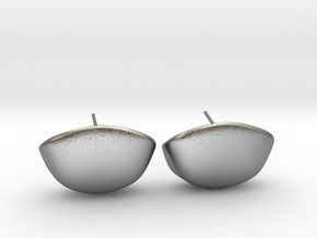 Cup Earring Pair  in Natural Silver