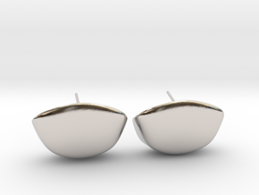 Cup Earring Pair  in Rhodium Plated Brass