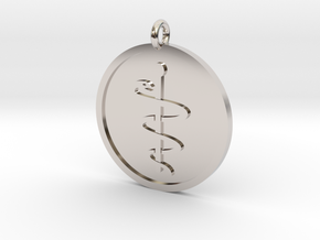 Staff of Aesculapius Pendant in Rhodium Plated Brass