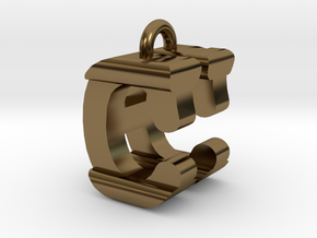 3D-Initial-CH in Polished Bronze