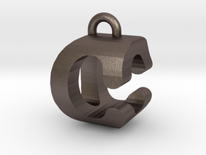 3D-Initial-CO in Polished Bronzed Silver Steel