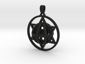Ball In Star Of David pendant in Black Natural Versatile Plastic