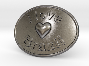 I Love Brazil Belt Buckle in Polished Nickel Steel