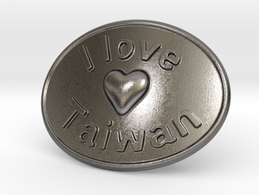 I Love Taiwan Belt Buckle in Polished Nickel Steel