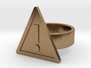 Warning Sign Ring in Natural Brass: 8 / 56.75