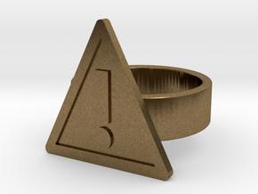 Warning Sign Ring in Natural Bronze: 8 / 56.75