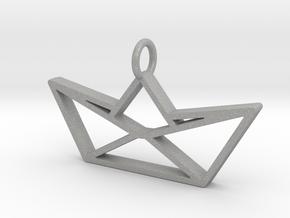 Paper Boat Pendant in Raw Aluminum