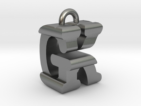 3D-Initial-GK in Raw Silver