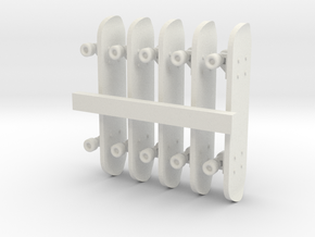 1/24 Scale Skateboards (5 Pack) in White Strong & Flexible