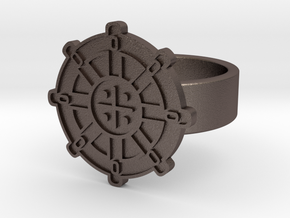 Wheel Of Dharma Ring in Polished Bronzed Silver Steel: 8 / 56.75