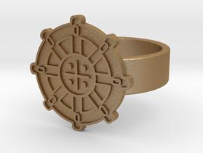 Wheel Of Dharma Ring in Matte Gold Steel: 10 / 61.5