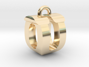 3D-Initial-OU in 14k Gold Plated Brass