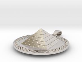 Pyramid Medallion in Rhodium Plated Brass