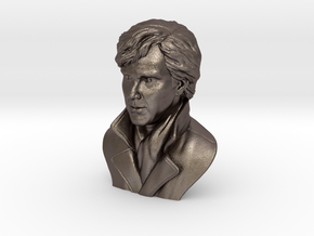 3D Sculpture of Benedict Cumberbatch in Polished Bronzed Silver Steel