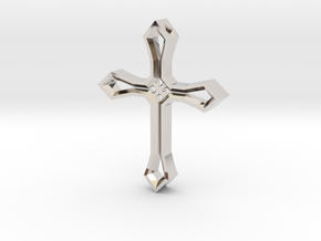 Cross Pendant in Rhodium Plated Brass
