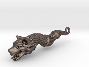 Dacic Wolf - Keychain in Polished Bronzed Silver Steel
