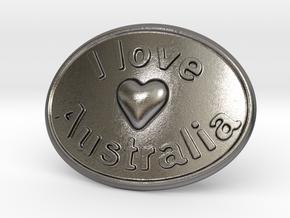 I Love Australia Belt Buckle in Polished Nickel Steel