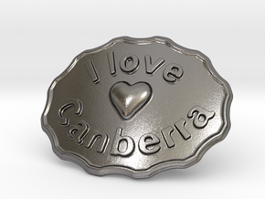 I Love Canberra Belt Buckle in Polished Nickel Steel