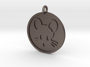 Mouse Pendant in Polished Bronzed Silver Steel